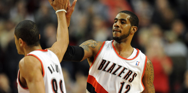 LaMarcus Aldridge and Nicolas Batum - US Presswire